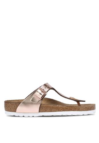 Birkenstock brown Gizeh Metallics Sandals BI090SH0RCOIMY_1