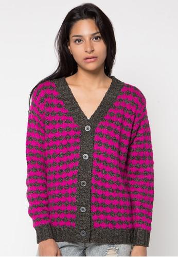 VOYANT BY MEGUMI pink Cardigan Button Stripe VO505AA97YJEID_1