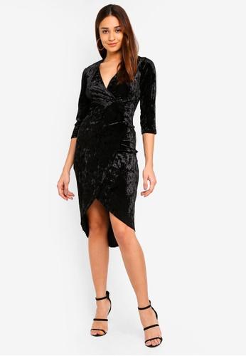 TFNC black Tallia Velvet Long Sleeve Midi Dress 42E1CAAC7DDEB1GS_1