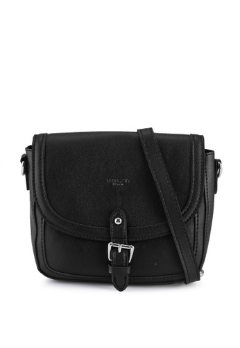 Unisa black Faux Leather Sling Bag With Flap Over CF87AACB99BAF3GS_1