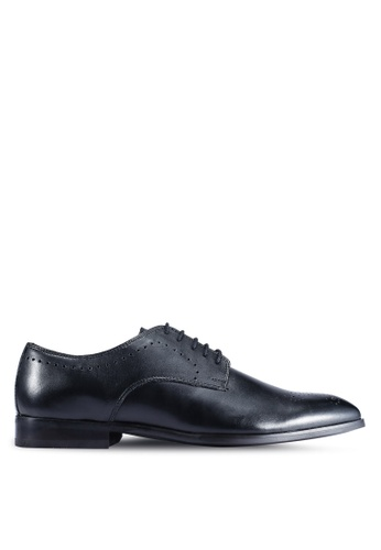 Burton Menswear London black Black Leather Derby Shoes With Brogue Detailing FDA52SHCAA4783GS_1