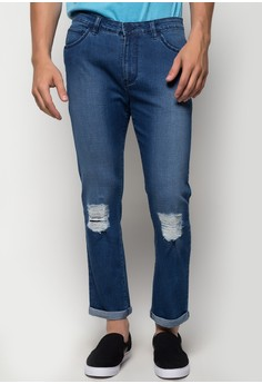 Cropped and Patched Skinny Jeans