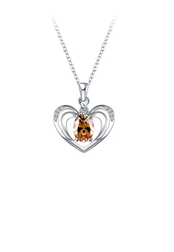 Glamorousky gold Simple Hollow Heart Pendant with Champagne Cubic Zircon and Necklace 97546ACEFD81DBGS_1