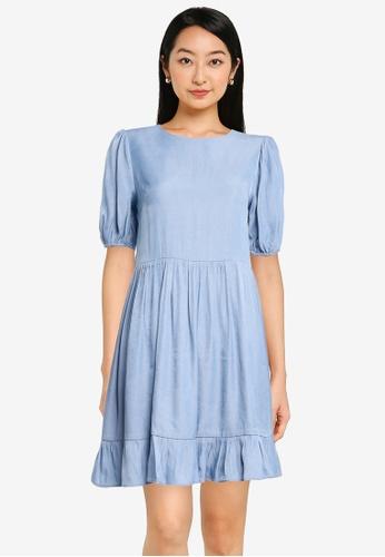 ZALORA BASICS blue Chambray Puff Sleeve Mini Ruffle Dress 0C44BAA018358EGS_1