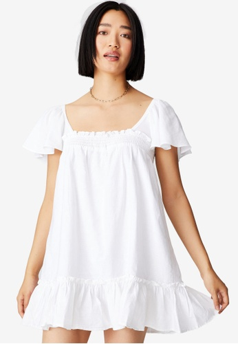 Cotton On white Woven Petite Florence Flutter Sleeves Tie Back Dress D6493AAB14B8E0GS_1