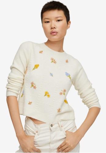 Mango beige Flowers Knit Sweater 3AFFDAA6BE1ED3GS_1