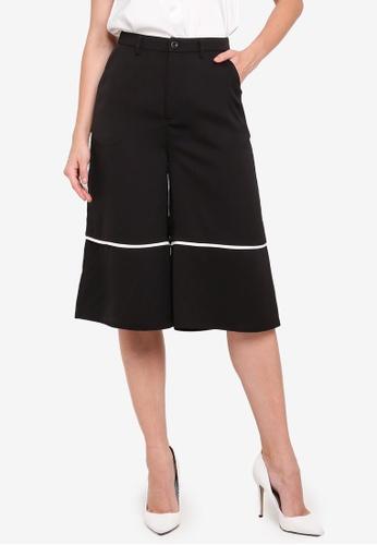 ZALORA black Contrast Trim Culottes 63004AA5218866GS_1