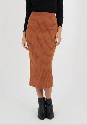 FORCAST brown Joanna Knit Skirt 8D31FAABEB6603GS_1