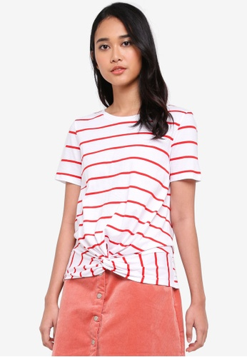 Pieces white and red Striped Tee E5849AAAA10E2DGS_1