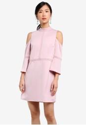 ZALORA pink Cold Shoulder Dress with Trimmings 30363AAD115AF4GS_1