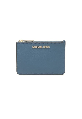 Michael Kors blue Michael Kors Jet Set Travel Small Top Zip Coin Pouch With ID Window DK Chambray 7A2C2AC7B1DEA4GS_1