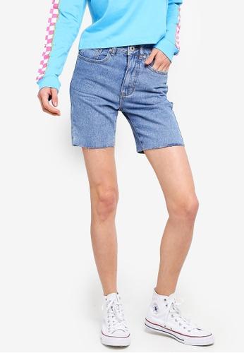 Factorie blue Long Cut Off Denim Shorts 6DE57AA090D437GS_1