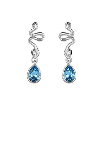 Glamorousky blue Elegant Pattern Earrings with Blue Austrian Element Crystal CB389AC9D0C5EFGS_1