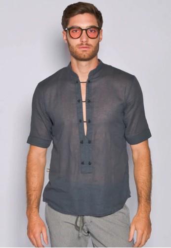 Gingersnap Bali blue Light Cotton Zhongshan Neck Wahrol Top 2FAA8AAA58EB71GS_1