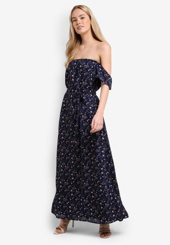 Something Borrowed blue Off Shoulder Maxi Dress F0B9DAA348D0AFGS_1