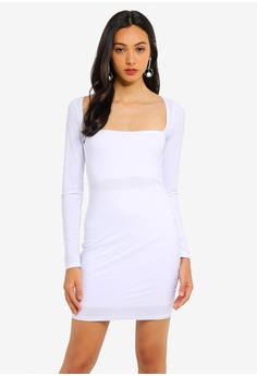 d8672e3c07a MISSGUIDED white Double Layer Slinky Wide Neck Mini Dress 5EA7DAAE44B21BGS_1
