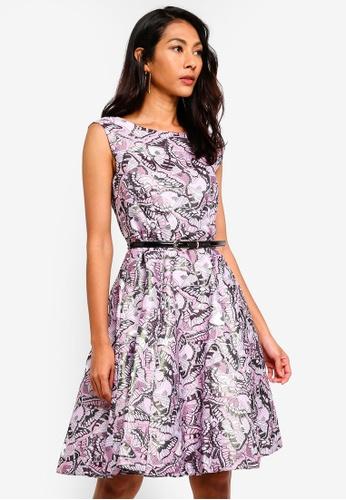 CLOSET pink Gold Belted Skater Dress F960AAA0251EF3GS_1