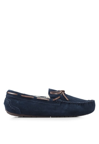 Burton Menswear London navy Lace Suede Navy Moccasin Slippers BU964SH0T1H3MY_1
