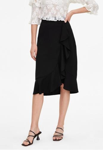 Pomelo black Ruffle Draped Flare Skirt - Black F988CAAC9C1CD7GS_1