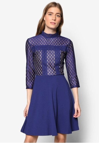 Victorianaesprit 內衣 波點蕾絲七分袖連身裙, 服飾, 洋裝