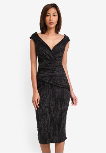 Goddiva black Glitter Midi Dress With Pleated Waist GO975AA0SSCHMY_1