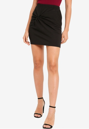 ZALORA YOUNG black Twist Detail High Waist Skirt BCB17AAFF85871GS_1