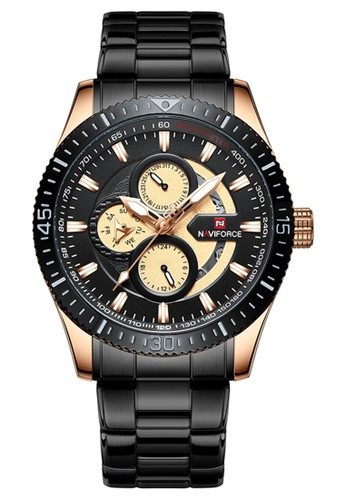 Naviforce black Naviforce - Jam Tangan Pria - Rosegold - Black Stainless Steel Bracelet - NF9140-B 1C176AC591CE8AGS_1