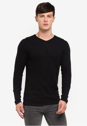 Jack & Jones 黑色 V領針織衫 6CDBBAA216EDF7GS_1
