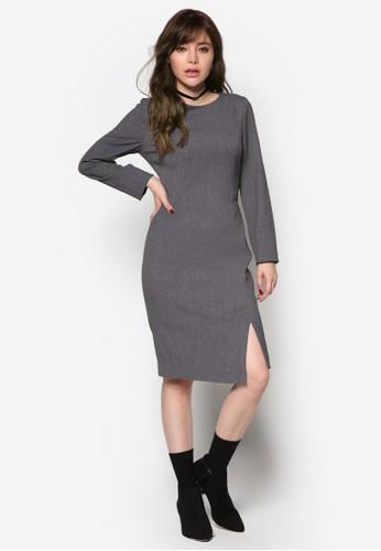開叉長袖鉛筆連身裙,esprit retail 服飾, 洋裝