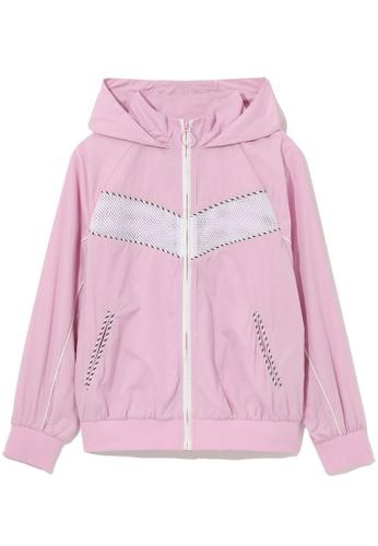 tout à coup pink Mesh panel zip jacket 78EB6AA1A899A7GS_1