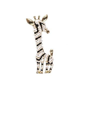 Glamorousky white Fashion and Cute Plated Gold Black and White Giraffe Brooch with Imitation Pearls 93102ACD8A0192GS_1