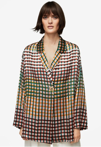 Mango green and multi Premium Wrap Silk Blouse MA193AA0S9MEMY_1