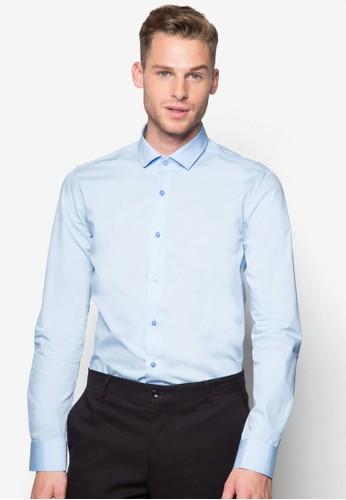 素色合身長袖esprit 京站襯衫, 服飾, 襯衫