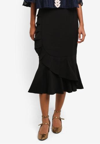 bYSI black Ruffle Wrap Midi Skirt BY867AA0RNOCMY_1