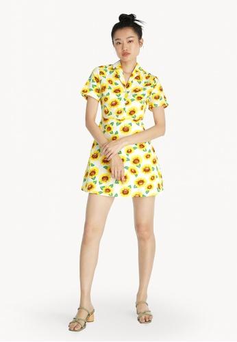 Pomelo white Sunflower Print Button Up Dress - White 4157EAA73C98E6GS_1