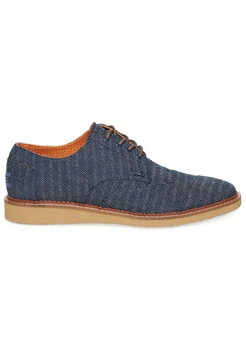 TOMS navy TOMS - Brogue Navy Denim Herringbone MN TO818SH27FGQMY_1
