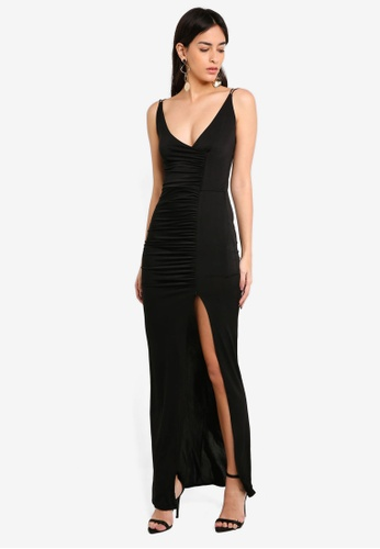 c34152c77461 MISSGUIDED black Slinky Ruched Maxi Dress 6E854AAA17ED6CGS 1