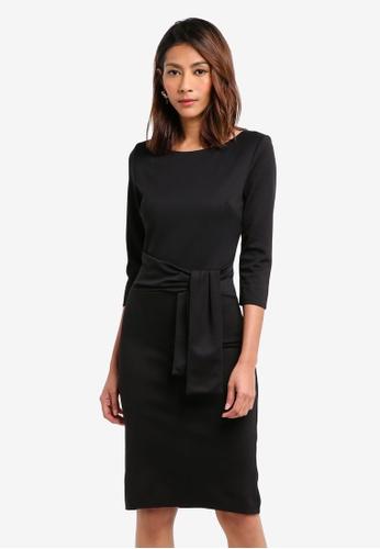 Goddiva black Pencil Dress With A Tie Detail F520AAA73DBAD9GS_1