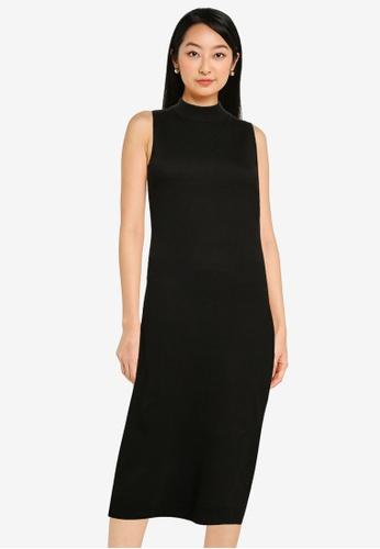 ZALORA BASICS black High Neck Sleeveless Sweater Dress C5C7CAA12A182DGS_1