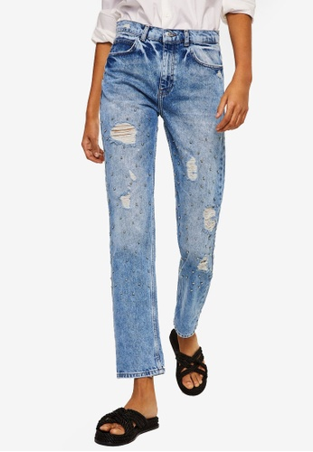 Mango blue Pearl Embroidery Jeans C0A83AA93D839CGS_1
