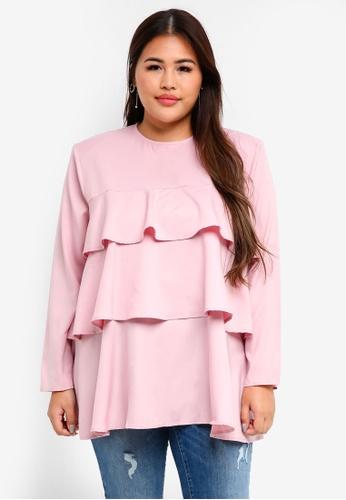 CURVA FABULOUS pink Layered Maimunah Top 34FE8AAB471F60GS_1