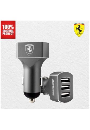 Ferrari grey Ferrari - 3 USB Car Charger - Gray C7CEFES84F0A46GS_1