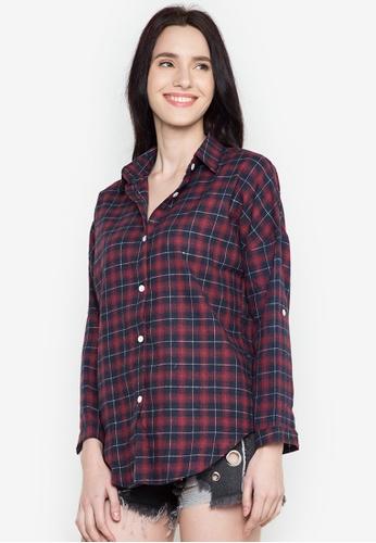 Chase Fashion red Plaid Flannel Shirt CH547US0JY5ZPH_1