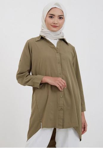 Hijabenka green Sephia Fika Plain Shirt Green EAE57AAA584011GS_1