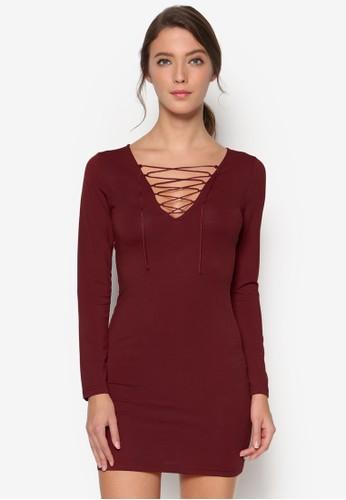 esprit 衣服繫帶低胸長袖連身裙, 女裝飾品, 鞋飾品配件