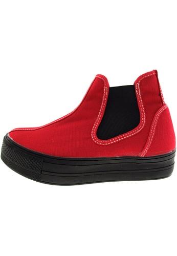 Maxstar 紅色 新款韩国鞋C30-SideSpan時尚帆布布混合女紅色 US Women Size MA345SH13HEGTW_1