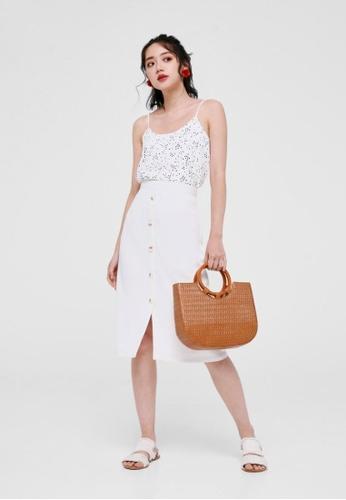 Love, Bonito white Cosima Button Front Midi Skirt 8FFFEAAEE8EEE9GS_1