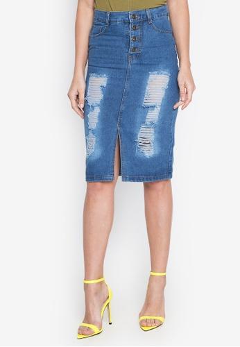 Ninety Nine Point Nine Boutiq blue Denim High-Waist Frayed Midi Skirt 7E699AAE39F6B0GS_1
