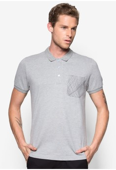 Polo With Printed Abstract Line Pocket