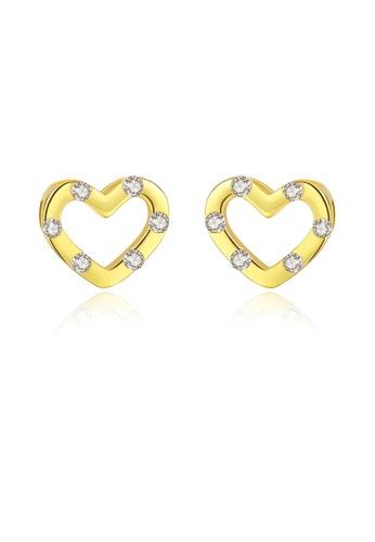 SUNRAIS gold High quality Silver S925 golden heart earrings 2C7F0AC82E0EE0GS_1